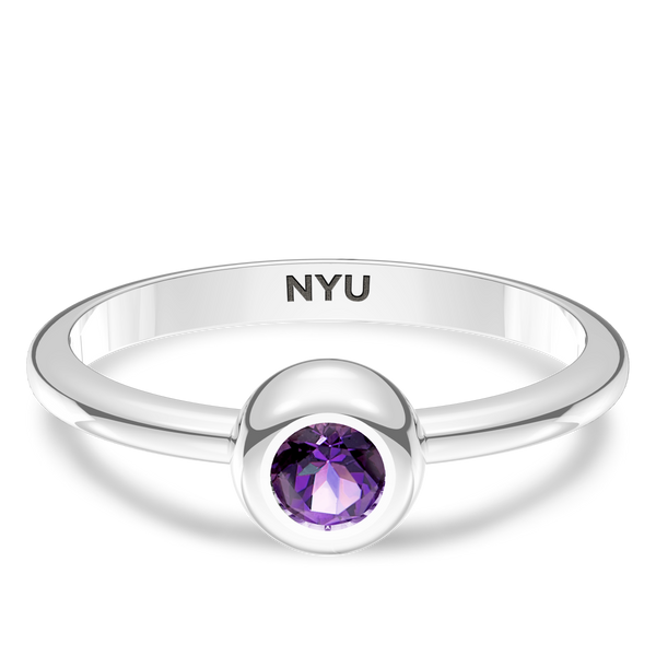 New York University Amethyst Engraved Ring In Sterling Silver