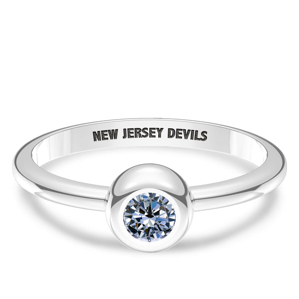 New Jersey Devils White Sapphire Engraved Ring In Sterling Silver