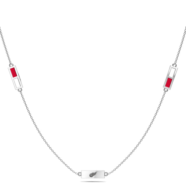 Detroit Redwings Triple Station Necklace In Sterling Silver