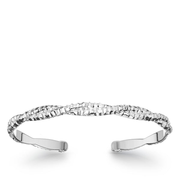 Bixlers Simplicity Diamond Twist Hammered Finish Cuff In Sterling Silver