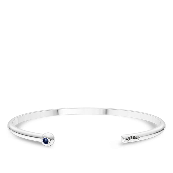 Houston Astros Sapphire Engraved Cuff Bracelet In Sterling Silver