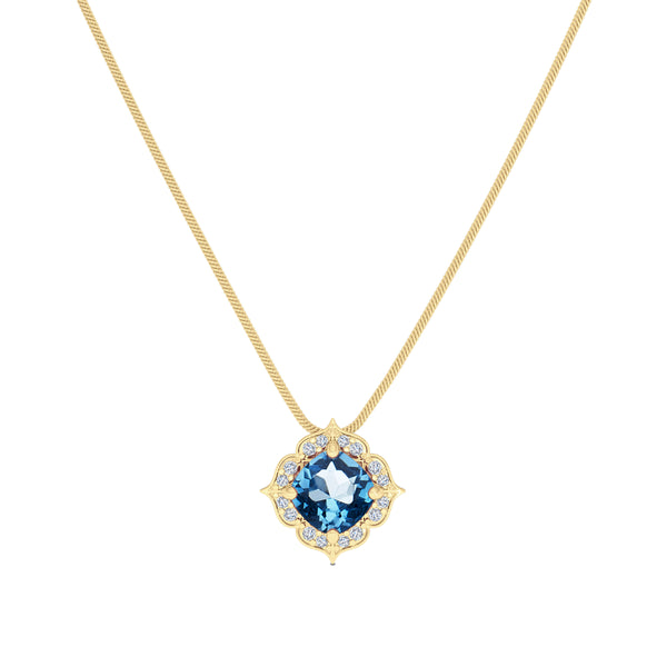 Bixlers Rosette Diamond Halo Pendant In 14K Yellow Gold