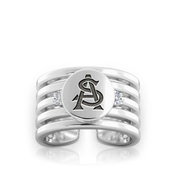 Arizona State University Diamond Logo Engraved Multiband Ring In Sterling Silver