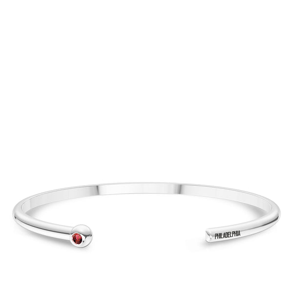 Philadelphia Phillies Ruby Engraved Cuff Bracelet In Sterling Silver