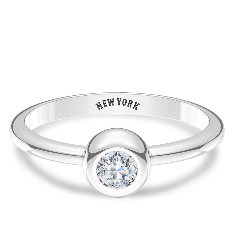 New York Mets Diamond Engraved Ring In Sterling Silver