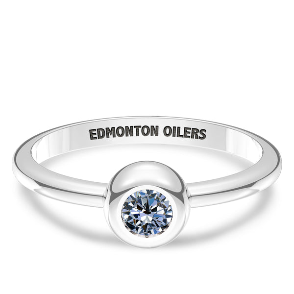 Edmonton Oilers White Sapphire Engraved Ring In Sterling Silver