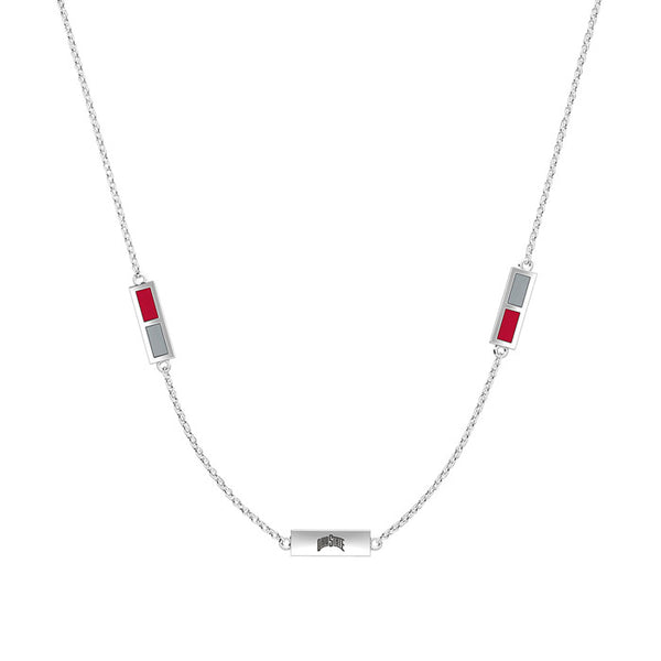 The Ohio State University Triple Station Necklace In Sterling Silver