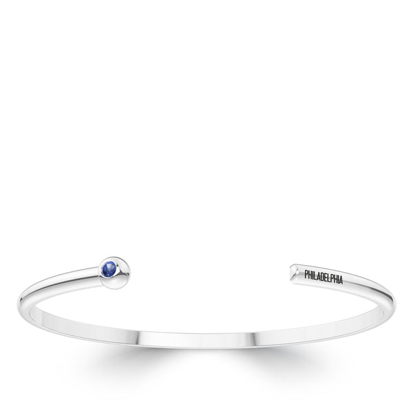 Philadelphia Phillies Sapphire Engraved Cuff Bracelet In Sterling Silver