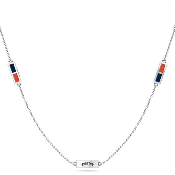 Houston Astros Triple Station Necklace In Sterling Silver