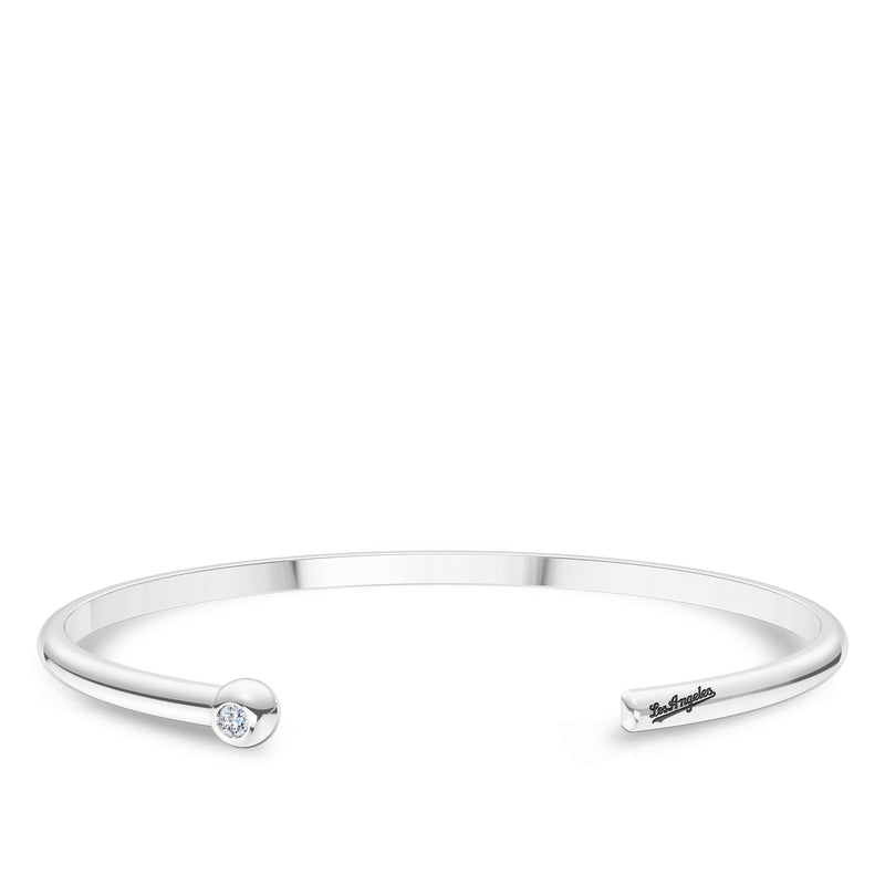 Los Angeles Dodgers Diamond Engraved Cuff Bracelet In Sterling Silver