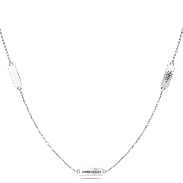 Columbus Blue Jackets Triple Station Necklace In Sterling Silver