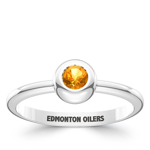 Edmonton Oilers Citrine Engraved Ring In Sterling Silver