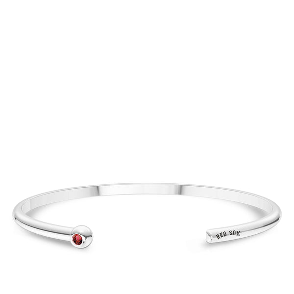 Boston Red Sox Ruby Engraved Cuff Bracelet In Sterling Silver