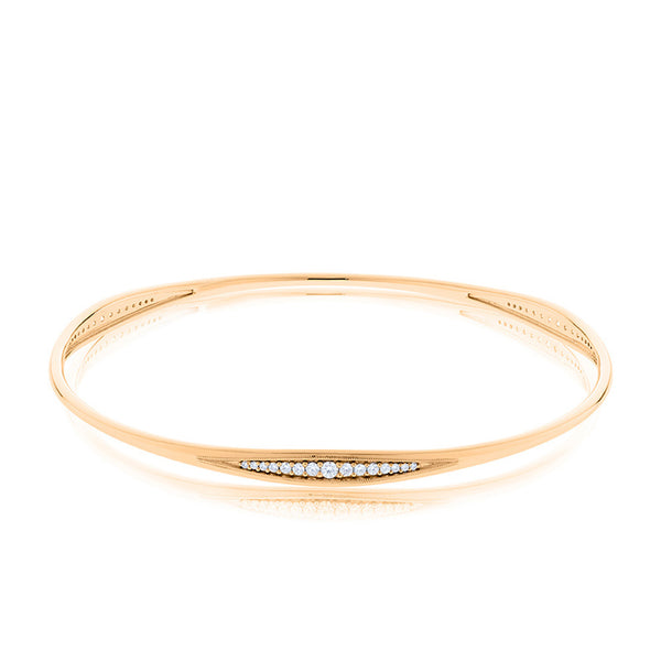 Bixlers Pas de Trois Diamond Graduated Bangle In 14K Yellow Gold