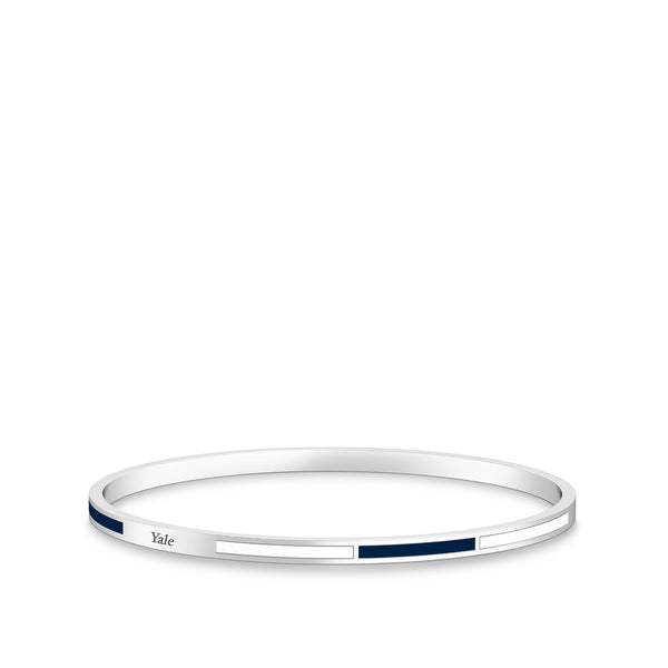 Yale University Engraved Two-Tone Enamel Bracelet In Sterling Silver