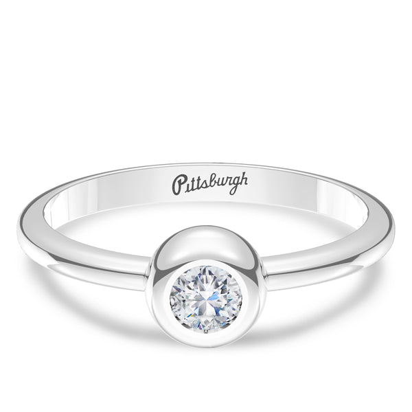 Pittsburgh Pirates Diamond Engraved Ring In Sterling Silver