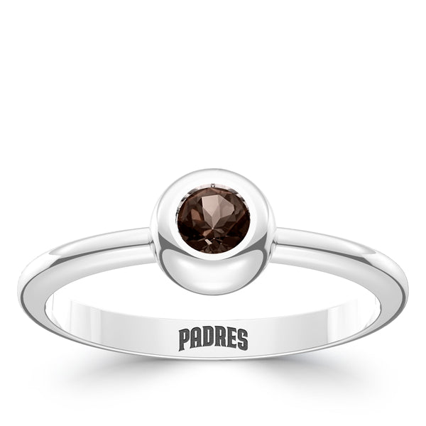 San Diego Padres Dark Smokey Quartz Engraved Ring In Sterling Silver