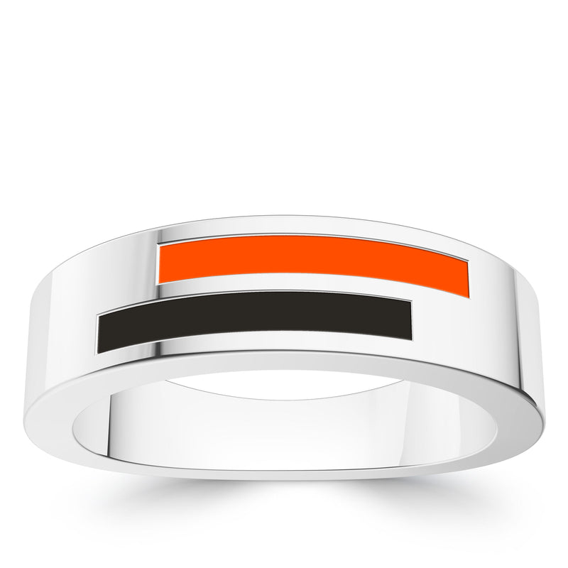 Baltimore Orioles Asymmetric Enamel Ring In Sterling Silver