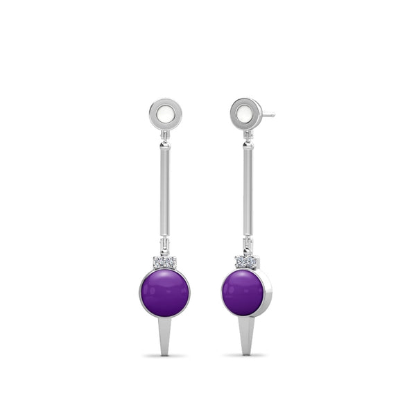 New York University Diamond Logo Engraved Enamel Dangle Earring In Sterling Silver