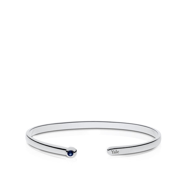 Yale University Sapphire Engraved Cuff Bracelet In Sterling Silver