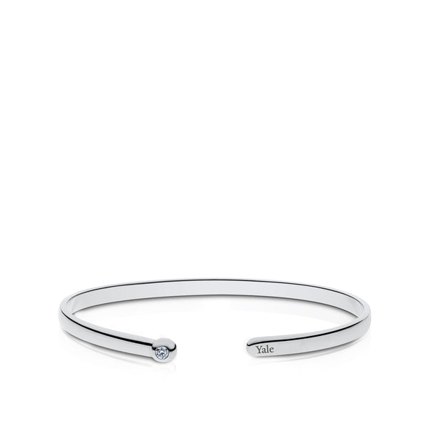 Yale University Diamond Engraved Cuff Bracelet In Sterling Silver