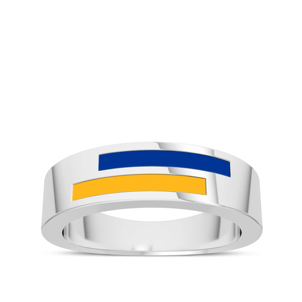 University Of Pittsburgh Asymmetric Enamel Ring In Sterling Silver