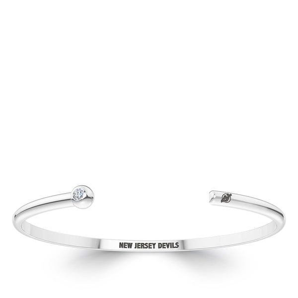New Jersey Devils Diamond Engraved Cuff Bracelet In Sterling Silver