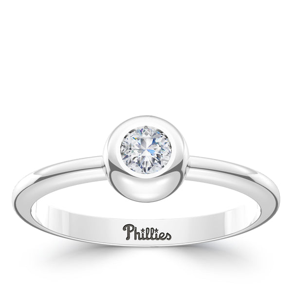Philadelphia Phillies Diamond Engraved Ring In Sterling Silver