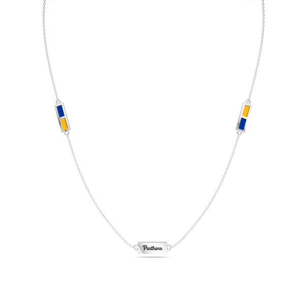 University Of Pittsburgh Triple Station Necklace In Sterling Silver