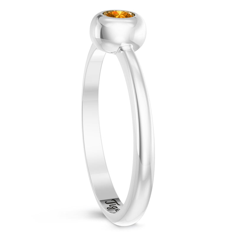 Detroit Tigers Citrine Engraved Ring In Sterling Silver