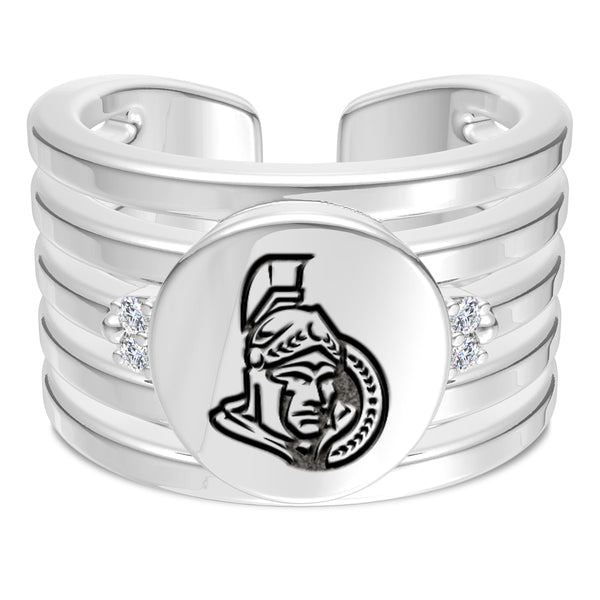 Ottawa Senators Diamond Logo Engraved Multiband Ring In Sterling Silver