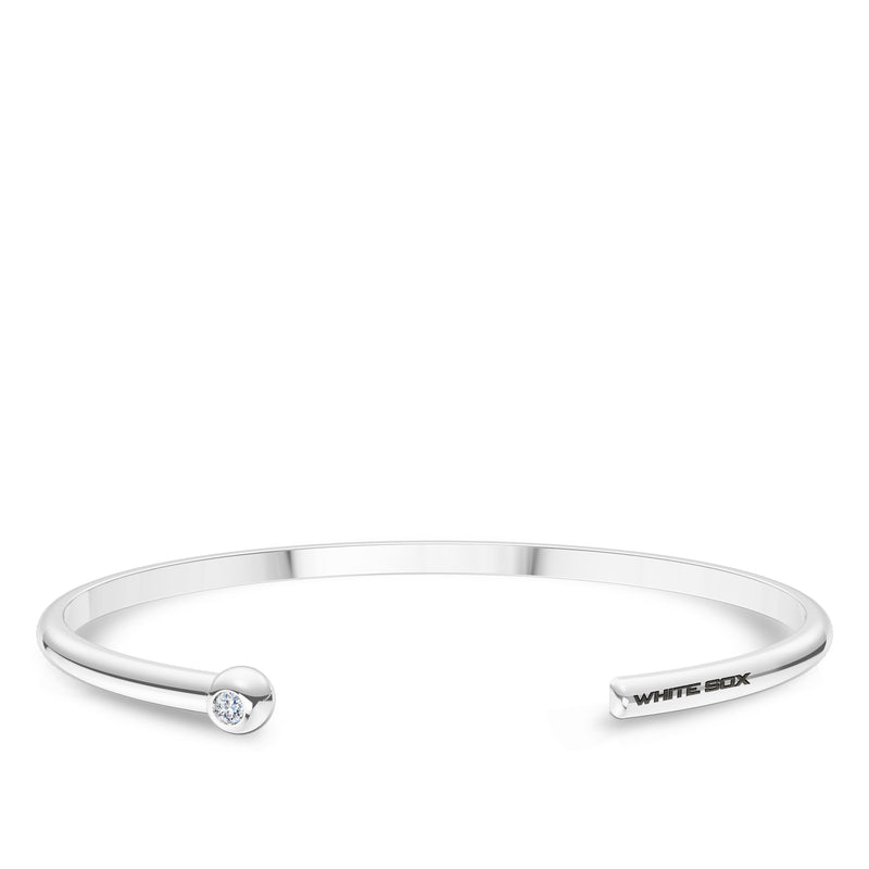 Chicago White Sox Diamond Engraved Cuff Bracelet In Sterling Silver
