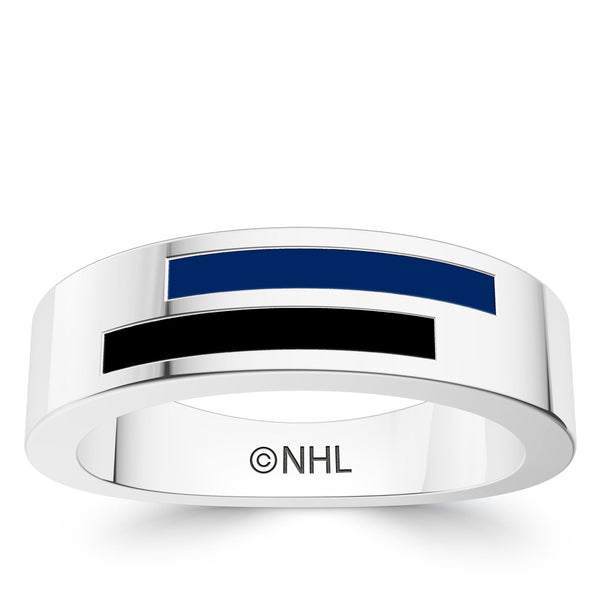 Tampa Bay Lightning Asymmetric Enamel Ring In Sterling Silver