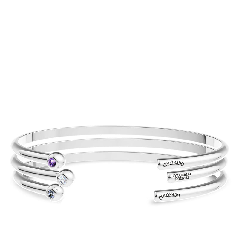 Colorado Rockies Amethyst Engraved Cuff Bracelet In Sterling Silver