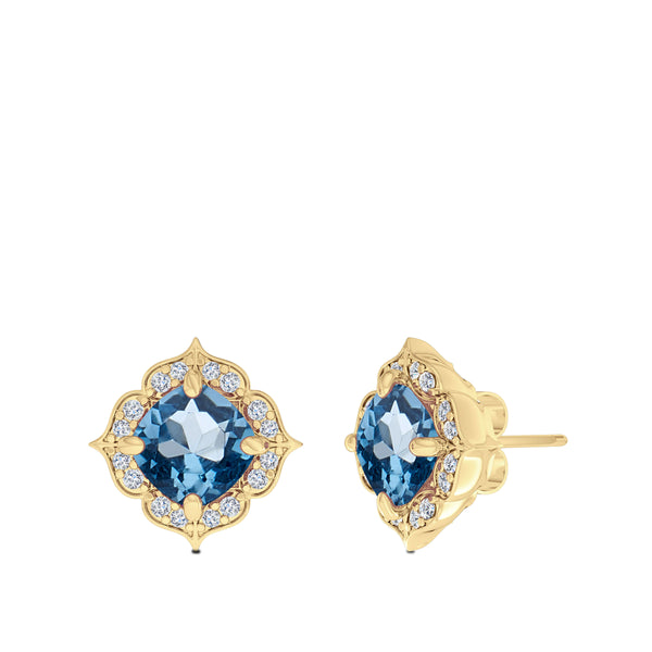 Bixlers Rosette Diamond Halo Earring In 14K Yellow Gold