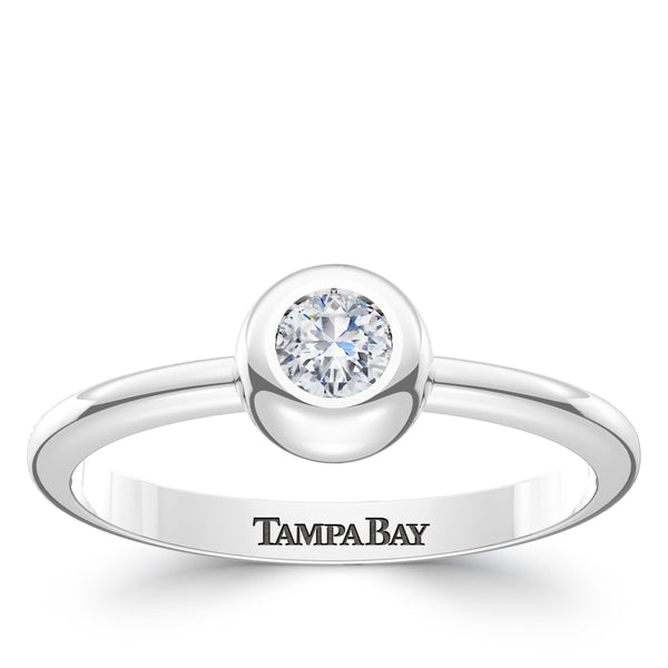 Tampa Bay Rays Diamond Engraved Ring In Sterling Silver