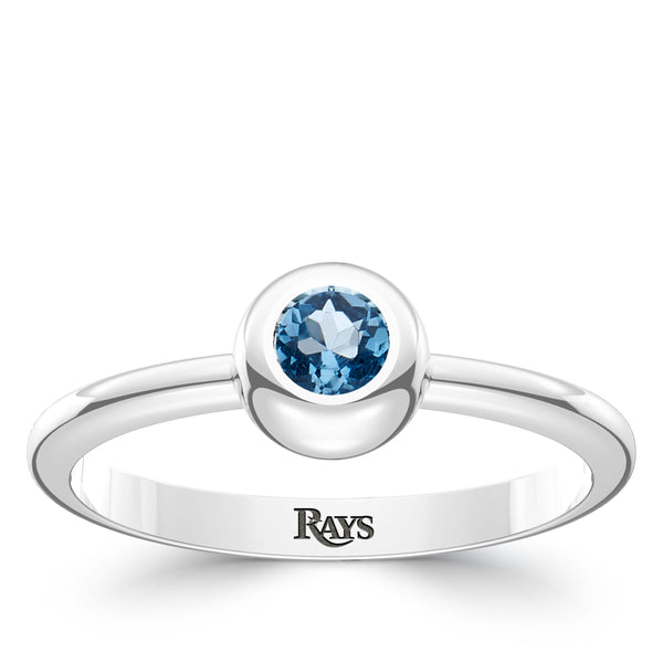 Tampa Bay Rays Swiss Blue Topaz Engraved Ring In Sterling Silver