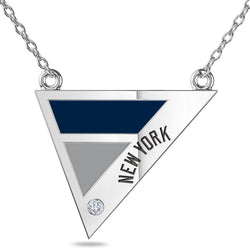 New York Yankees Geometric Necklace In Sterling Silver