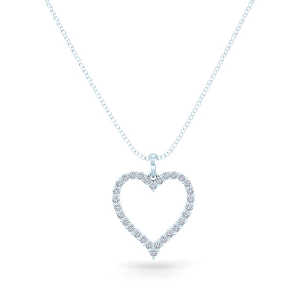 Bixlers Pure Love Diamond Heart Pendant In 14K White Gold