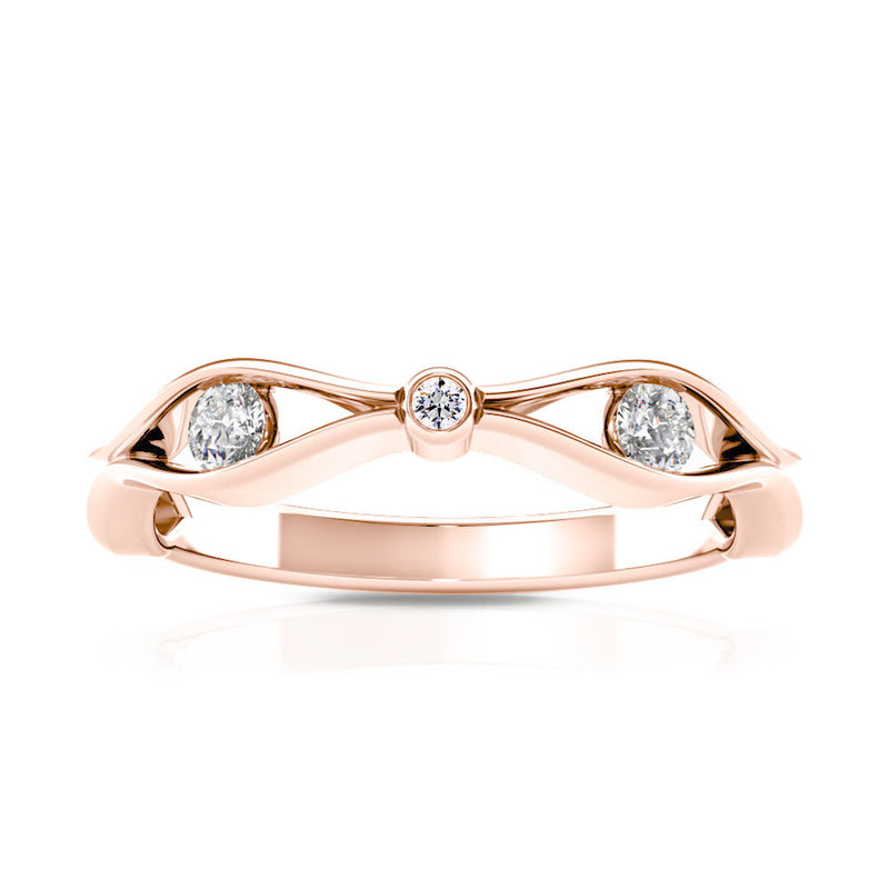 Bixlers Easton Diamond Open Wave Ring In 14K Rose Gold