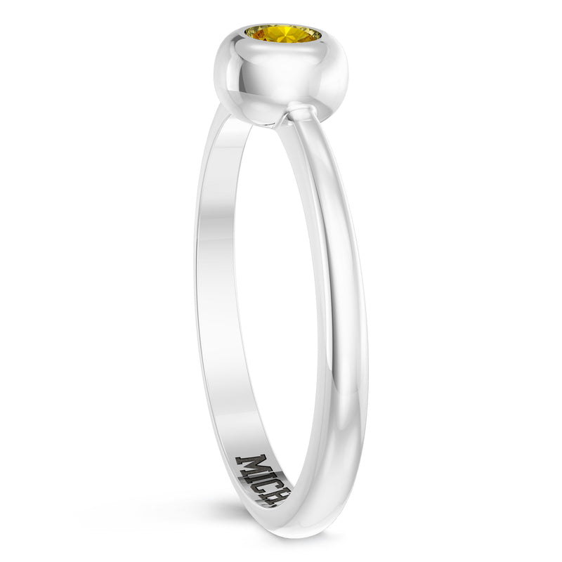 The University Of Michigan Yellow Sapphire Engraved Ring In Sterling Silver