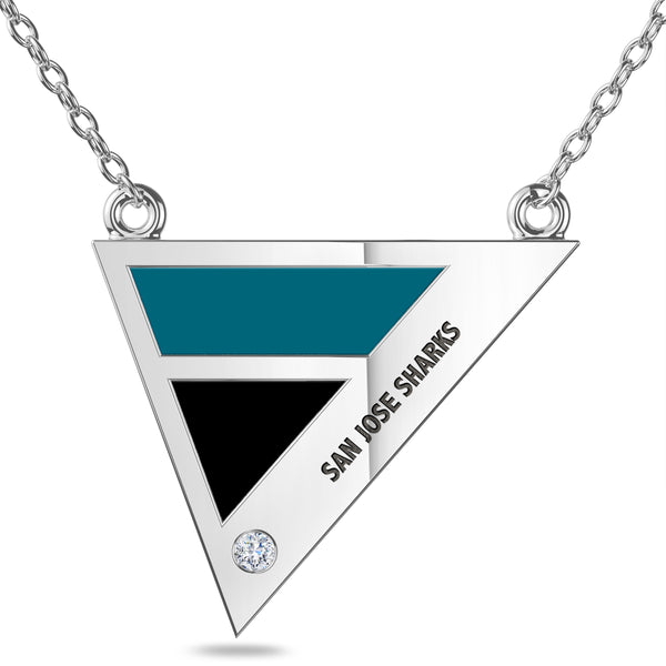 San Jose Sharks Geometric Necklace In Sterling Silver