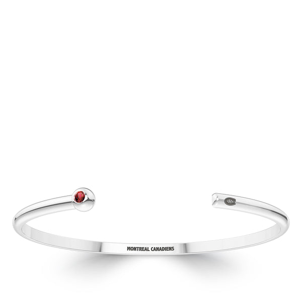 Montreal Canadiens Ruby Engraved Cuff Bracelet In Sterling Silver