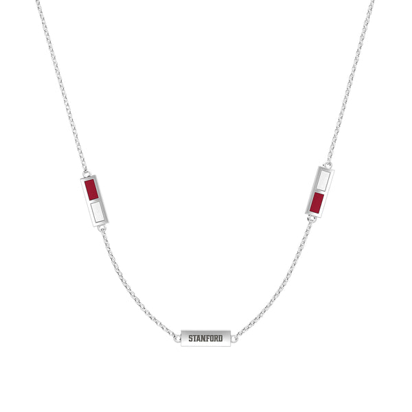 Stanford University Triple Station Necklace In Sterling Silver