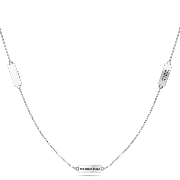 New Jersey Devils Triple Station Necklace In Sterling Silver