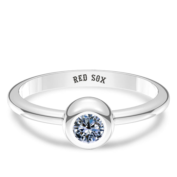Boston Red Sox White Sapphire Engraved Ring In Sterling Silver