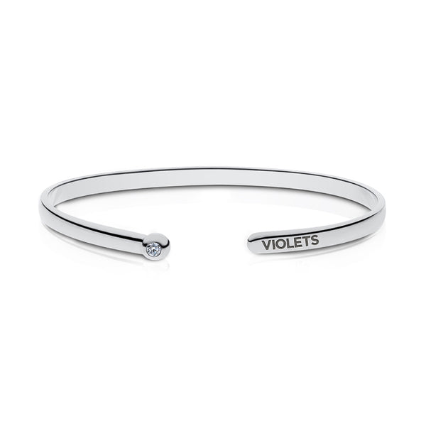 New York University Diamond Engraved Cuff Bracelet In Sterling Silver