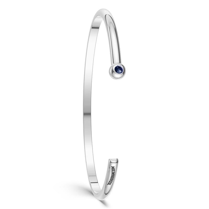 Milwaukee Brewers Sapphire Engraved Cuff Bracelet In Sterling Silver