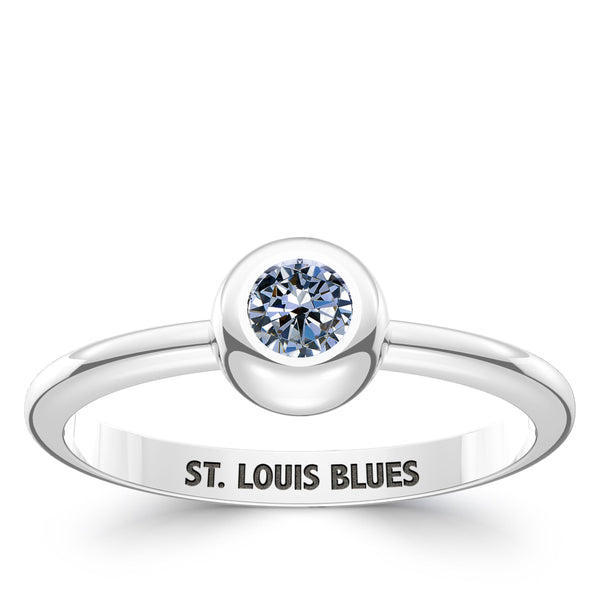 St. Louis Blues White Sapphire Engraved Ring In Sterling Silver