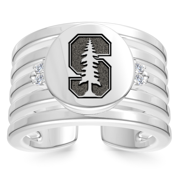 Stanford University Diamond Logo Engraved Multiband Ring In Sterling Silver